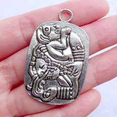Mayan Glyph Tag Charms with Ancient Carving Pattern | Maya Totem Tag Pendant | Protection Amulet Jewelry | Aztec Charm | Inca Charm | Tailsman Charm (1 Piece / Tibetan Silver / 27mm x 43mm)