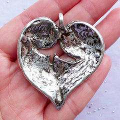 Heart Shaped Leaf Charm | Large Leaf Pendant | Nature Necklace Making | Floral Jewellery DIY | Valentine's Day & Wedding Supplies (1 Piece / Tibetan Silver / 45mm x 50mm)