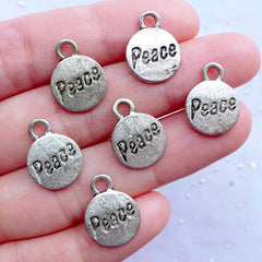 Silver Peace Tag Charms | Small Peace Drop | Engraved Word Charms | Stamped Charm | Inspiration Charms (6pcs / Tibetan Silver / 12mm x 15mm)