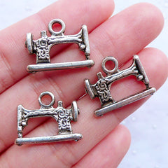 Antique Sewing Machine Charms | Silver Sewing Machine Pendant | Seamstress Charm | Tailor Charm | Gift for Dressmaker & Sewing Lovers (3pcs / Tibetan Silver / 20mm x 15mm / 2 Sided)