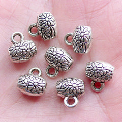 Floral Bead Bail Charm Hanger | Silver Bail Beads with Flower Pattern | Barrel Beads with Charm Holder | Bracelet & Necklace DIY (7pcs / Tibetan Silver / 9mm x 10mm)
