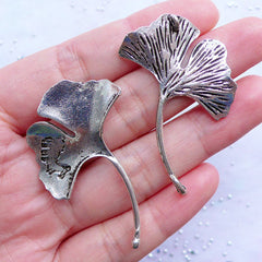 Silver Ginkgo Leaf Charm Connector | Big Leaf Pendant | Large Floral Charm | Nature Jewellery Making | Leaf Necklace DIY (2pcs / Tibetan Silver / 32mm x 46mm)