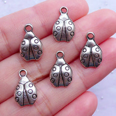 DEFECT Ladybug Charms | Small Ladybird Pendant | Coleoptera Charm | Silver Beetle Drops | Insect Jewellery DIY (5pcs / Tibetan Silver / 9mm x 14mm / 2 Sided)