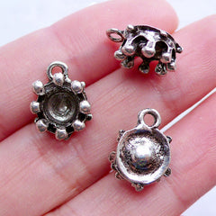 Small Crown Bezel Cup Charms | Silver Crown Drops | 6mm Bezel Tray | Tiny Mini Cabochon Setting | Jewelry Supplies (6pcs / Tibetan Silver / 10mm x 14mm)