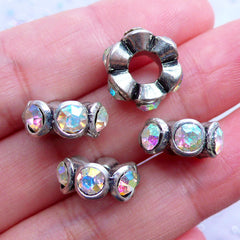 AB Clear Rhinestone Pave Beads | Bling Bling Rondelle Bead | Large Hole Rondell Bead | Silver Spacer Beads | European Bracelet DIY (4pcs / Tibetan Silver / 14mm x 6mm)