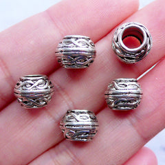 Barrel Drum Beads with Infinity Twist Pattern | Silver Spacer Beads | Big Hole Beads | European Beads | Bohemian Bracelet DIY | Boho Jewellery Making (5pcs / Tibetan Silver / 10mm x 8mm)