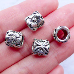 Silver Flower Barrel Beads | Tube Beads with Floral Pattern | Large Hole Beads | Nature Focal Beads | European Bead Supplies | Charm Bracelet and Necklace Making (4pcs / Tibetan Silver / 9mm x 8mm)
