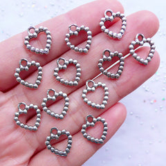 Beaded Heart Charms | Outline Heart Drops | Small Heart Pendant | Valentine's Day Supplies | Wedding Favor Decoration | Love Jewelry (12pcs / Tibetan Silver / 11mm x 13mm / 2 Sided)