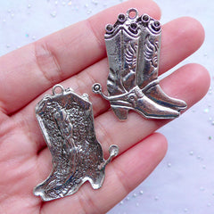 Cowboy Boot with Spur Charms | Silver Footware Pendant | Wild West Cowgirl Jewellery | Fashion Shoe Charm (3pcs / Tibetan Silver / 31mm x 36mm)
