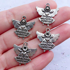 Angel is Watching Over Me Charms | Guardian Angel Pendant | Baptism Gift Decoration | Confirmation Jewelry DIY | First Communion Party Favor Charm (4pcs / Tibetan Silver / 19mm x 20mm / 2 Sided)