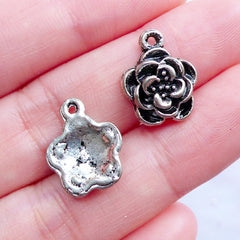 Small Flower Charms | Silver Floral Pendant | Little Flower Drops | Spring Jewellery DIY | Nature Charm | Jewelry Making Craft Supplies (10pcs / Tibetan Silver / 12mm x 15mm)