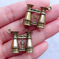 Miniature Binoculars Charms in 3D | Vintage Field Glasses Pendant | Antique Binocular Telescopes Charm | Galilean Binoculars Charm | Zakka Jewellery Making (2pcs / Antique Gold / 23mm x 21mm / 2 Sided)