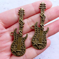 Large Guitar Charms | Big Electric Guitar Pendant | Rock and Roll Band Sound Jewellery | Music Instrument Charm | Musician Jewelry (2pcs / Antique Bronze / 20mm x 54mm)