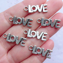 Silver Love Letter Charms | Small Love Drops | Word Charm | Love Message Jewellery | Wedding Supplies | Valentine's Day Gift Decoration (6pcs / Tibetan Silver / 8mm x 21mm)