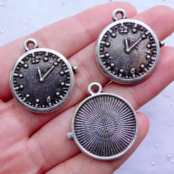 Clock Bezel Charms | Round Bezel Tray | Silver Bezel Setting | 20mm Cabochon Bases | Cameo Holder | Jewelry Mounting Supplies (3pcs / Tibetan Silver / 25mm x 27mm)