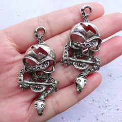 Large Skull and Snake Charms | Big Gothic Skull Pendant | Halloween Jewellery | Dark Goth Charm (2pcs / Tibetan Silver / 25mm x 55mm)