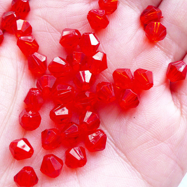 Acrylic Bicone Beads in 6mm | Plastic Rhombus Beads | Spacer Beads | Faceted Crystal Beads | Gemstone Beads | Beading Components (80pcs / Transparent Red)