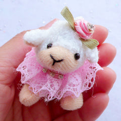 Plush Toy Charm | Fabric Sheep Doll Charm | Snuggled Animal Toy Charm | Stuffed Toy Charm | Small Soft Toy Charm | Cuddly Toy Charm | Kawaii Handbag Charm Making (30mm x 55mm)