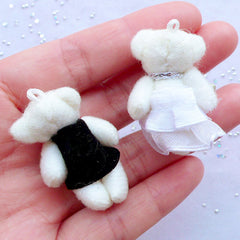 Wedding Bear Toy Charms | Bride and Groom Stuffed Toy Charms | Small Plush Doll Charms | Fabric Animal Toy Charms | Soft Toy Charms | Cuddly Toy Charm (2 Pieces / 25mm x 36mm)