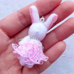Stuffed Toy Charm | Fabric Rabbit Doll Charm | Bunny Toy Charm | Small Plush Toy Charm | Animal Toy Charm | Cuddly Toy Charm | Soft Toy Charm (Pink / 25mm x 50mm)