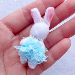 Soft Toy Charm | Fabric Bunny Toy Charm | Small Rabbit Doll Charm | Cuddly Doll Charm | Stuffed Toy Charm | Plush Doll Charm | Animal Toy Charm (Blue / 25mm x 50mm)