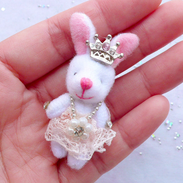 Animal Doll Charm | Fabric Rabbit Toy Charm | Small Bunny Doll Charm | Soft Doll Charm | Cuddly Toy Charm | Stuffed Doll Charm | Plush Toy Charm (Light Salmon Pink / 25mm x 50mm)