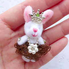 Small Rabbit Doll Charm | Bunny Toy Charm | Fabric Animal Doll Charm | Soft Toy Charm | Cuddly Toy Charm | Stuffed Toy Charm | Plush Doll Charm (Brown / 25mm x 50mm)