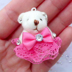 Small Bear Doll Charm | Animal Toy Charm | Fabric Doll Charm | Soft Toy Charm | Cuddly Doll Charm | Stuffed Toy Charm | Plush Doll Charm (Dark Pink / 25mm x 35mm)