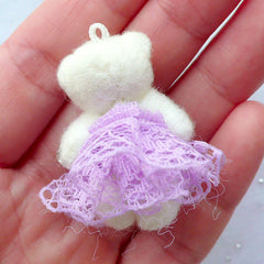 CLEARANCE Bear Toy Charm | Small Animal Doll Charm | Fabric Toy Charm | Soft Doll Charm | Cuddly Toy Charm | Stuffed Doll Charm | Plush Toy Charm (Purple / 25mm x 35mm)