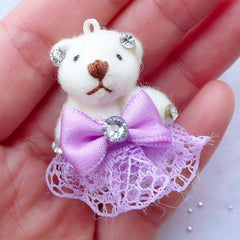 Bear Toy Charm | Small Animal Doll Charm | Fabric Toy Charm | Soft Doll Charm | Cuddly Toy Charm | Stuffed Doll Charm | Plush Toy Charm (Purple / 25mm x 35mm)