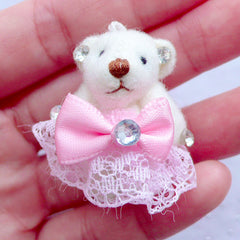 Bear Doll Charm | Stuffed Animal Toy Charm | Small Doll Charm | Fabric Doll Charm | Soft Toy Charm | Cuddly Doll Charm | Plush Doll Charm (Light Pink / 25mm x 35mm)