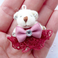 Stuffed Bear Toy Charm | Soft Animal Doll Charm | Fabric Toy Charm | Small Toy Charm | Cuddly Toy Charm | Plush Toy Charm (Crimson Red / 25mm x 35mm)