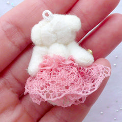 Fabric Bear Doll Charm | Stuffed Toy Charm | Animal Toy Charm | Soft Doll Charm | Small Plush Toy Charm | Cuddly Toy Charm (Dusty Pink / 25mm x 35mm)