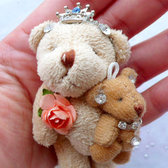 Kawaii Bear Doll Charm | Bear Mom and Child | Stuffed Doll Charm | Animal Toy Charm | Soft Fabric Toy Charm | Plush Doll Charm | Small Cuddly Toy Charm (Light Brown / 40mm x 75mm)