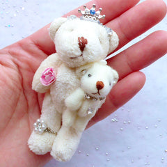 Kawaii Bear Toy Charm | Bear Mother and Son | Stuffed Animal Doll Charm | Soft Toy Charm | Small Fabric Doll Charm | Plush Toy Charm | Cuddly Doll Charm (Cream White / 40mm x 75mm)
