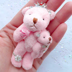 Bear Mother and Child Charm | Stuffed Bear Toy Charm | Small Animal Toy Charm | Soft Doll Charm | Fabric Toy Charm | Plush Doll Charm | Cuddly Toy Charm | Mother's Day Gift (Pink / 40mm x 75mm)