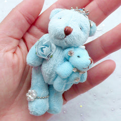Stuffed Bear Doll Charm | Bear Mom and Son Charm | Small Plush Toy Charm | Fabric Animal Doll Charm | Soft Toy Charm | Cuddly Doll Charm | Newborn Gift (Blue / 40mm x 75mm)
