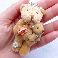 Bear Plush Toy Charm | Bear Family Charm | Small Stuffed Toy Charm | Animal Toy Charm | Soft Fabric Doll Charm | Cuddly Toy Charm | Gift for New Mom (Brown / 40mm x 75mm)