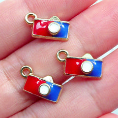 Camera Charms | Photography Enamel Charm | Travel Photo Charm | Colored Pendant | French Style Jewelry Making | Photographer Jewellery (3pcs / Gold / 13mm x 7mm)