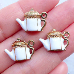 Tea Time Themed Keyring With Cupcake Teapot Cutlery Charms and Gems Gift Bag