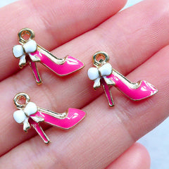 High Heel Charms | Lady Fashion Charms | Shoe Charm | Kawaii Planner Charms | Enamel Charm Supplies | Cute Jewelry DIY | Handbag Charm Making (3pcs / Gold & Pink / 13mm x 13mm)