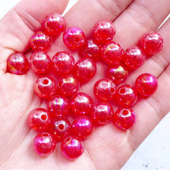 Acrylic Cracked Beads in 10mm | Round Crackle Beads | Aurora Borealis Ball Beads | Bubblegum Bead | Chunky Necklace & Bracelet Making (AB Clear Red / 25pcs)