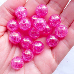 12mm Acrylic Crackle Beads | Round Cracked Beads | Chunky Ball Beads | Aurora Borealis Gumball Bead | Bubblegum Bracelet & Necklace DIY (AB Clear Magenta Dark Pink / 15pcs)