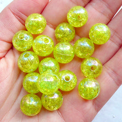 12mm Acrylic Cracked Beads | Round Crackle Beads | Chunky Bubblegum Beads | Plastic Ball Bead | Aurora Borealis Bead | Gumball Bracelet & Necklace DIY (AB Clear Lime Green / 15pcs)