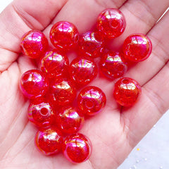 12mm Cracked Beads | Acrylic Ball Beads | Chunky Crackle Beads | Kawaii Gumball Beads | Round Plastic Bead | Aurora Borealis Bubblegum Bead | Necklace & Bracelet DIY (AB Clear Red / 15pcs)