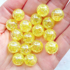 12mm Crackle Beads | Round Acrylic Beads | Chunky Cracked Beads | Kawaii Ball Beads | Plastic Gumball Bead | Bubblegum Bead | Aurora Borealis Necklace & Bracelet DIY (AB Clear Yellow / 15pcs)