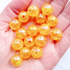 Crackle Beads in 12mm | Cracked Ball Beads | Kawaii Acrylic Beads | Round Chunky Beads | Plastic Bubblegum Beads | Gumball Beads | Aurora Borealis Bracelet & Necklace DIY (AB Clear Orange / 15pcs)