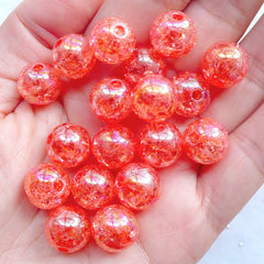 Cracked Beads in 12mm | Crackle Ball Beads | Acrylic Round Beads | Kawaii Bubblegum Beads | Plastic Chunky Beads | Holographic Gumball Beads | Cute Bracelet & Necklace Making (AB Clear Coral Pink / 15pcs)
