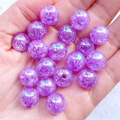 Kawaii Bubblegum Beads | 12mm Crackle Round Beads | Plastic Cracked Beads | Acrylic Gum Ball Beads | Cute Beads | Chunky Necklace & Bracelet Making (AB Clear Purple / 15pcs)