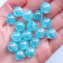 Kawaii Beads | 12mm Bubblegum Crackle Beads | Cracked Plastic Beads | Acrylic Gumball Beads | Cute Round Beads | Iridescent Beads | Chunky Jewellery Making (AB Clear Blue / 15pcs)